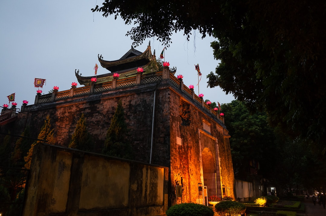 The Imperial Citadel of Thang Long in Hanoi, Vietnam at night