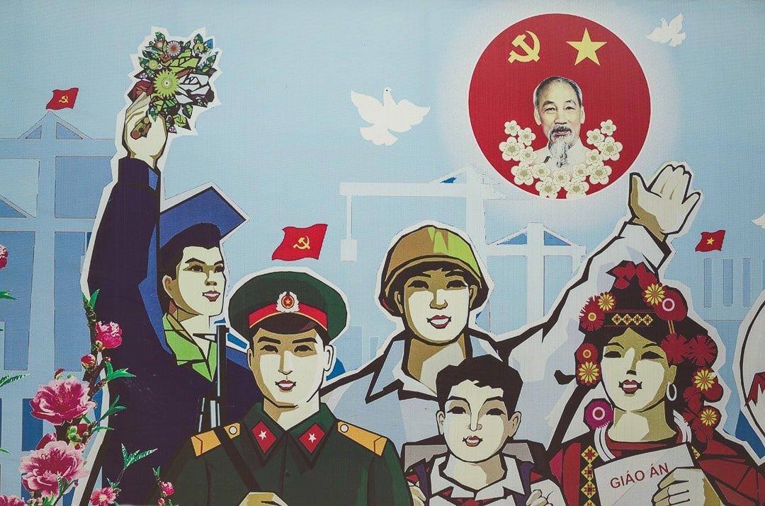 Communist Propaganda poster in Hanoi, Vietnam