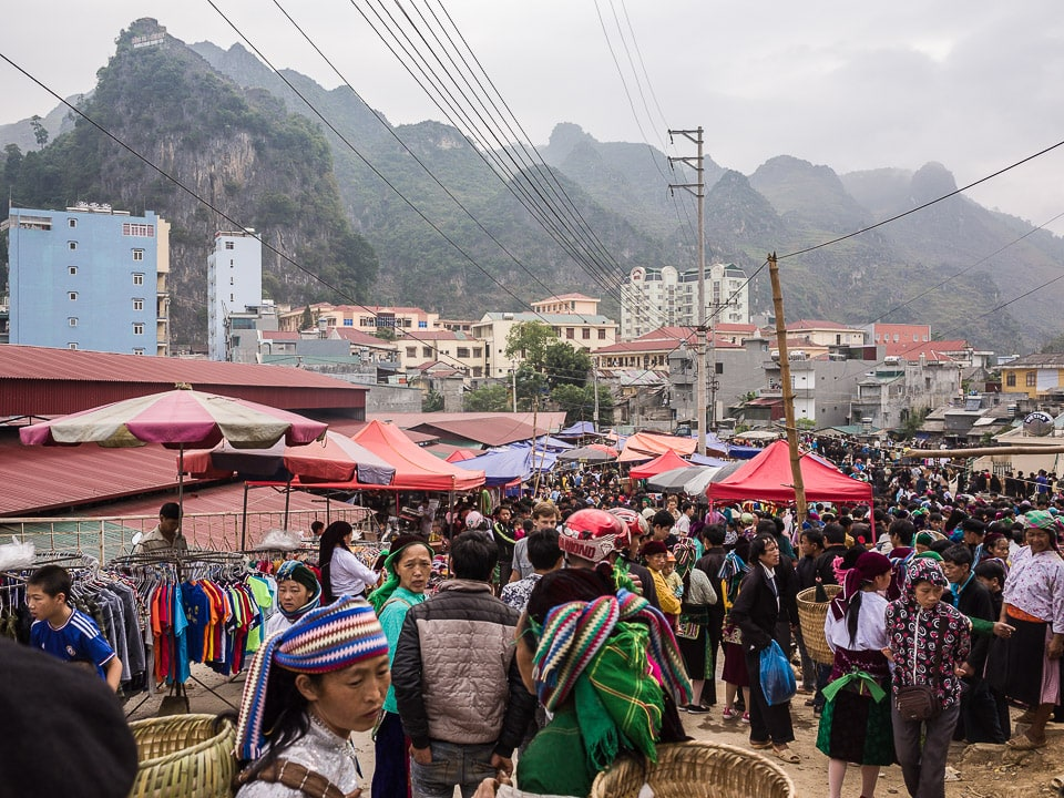 A view over the Dong Van Market in Ha Giang Province, Vietnam