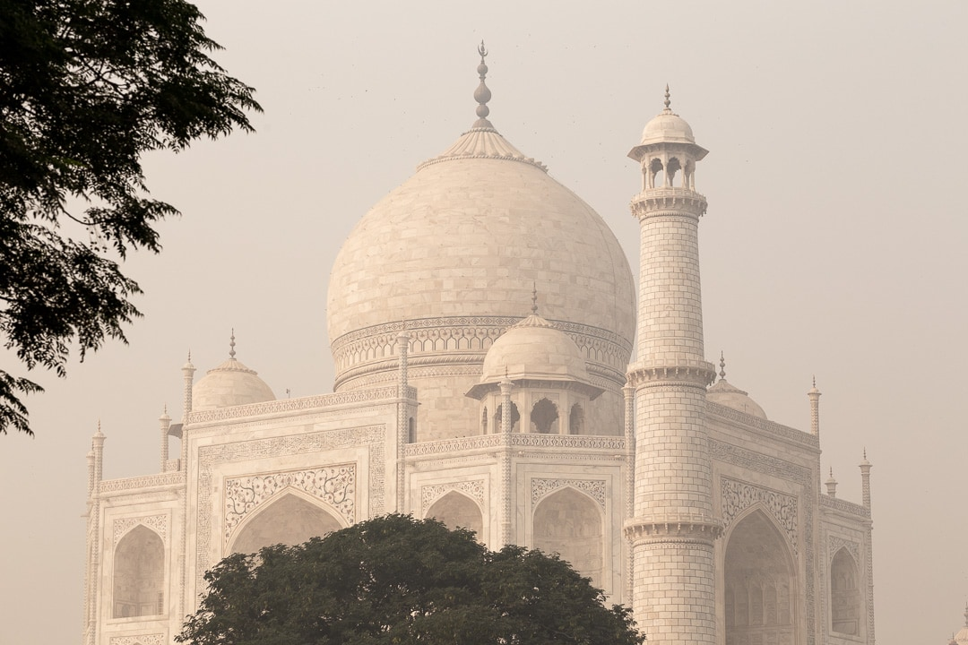 View of the Taj Mahal from Dussehra Ghat in Agra, India