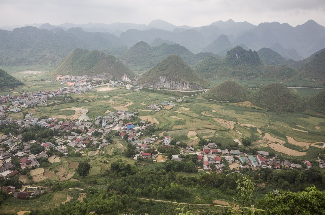 The view over the green landscape from Fairy Bosom lookout in Ha Giang, Vietnam