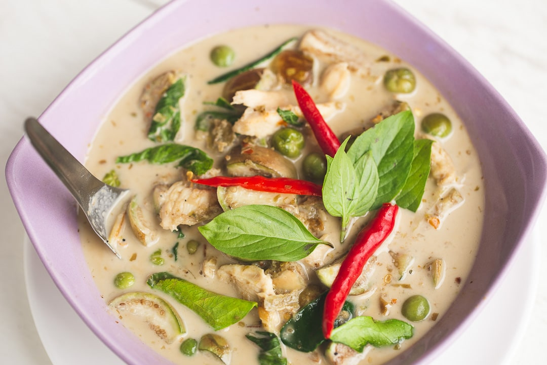 Gaeng Keow Wan - Thai Green Curry in a bowl in Bangkok, Thailand