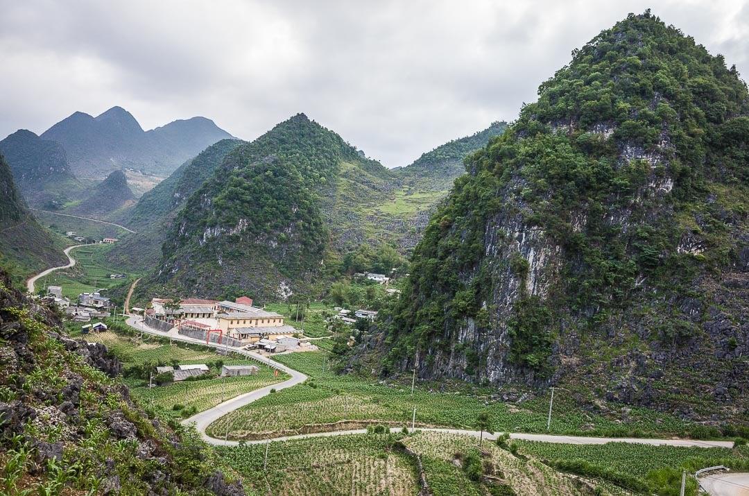 Views of a road in Dong Van Karst Plateau Geopark Ha Giang Vietnam