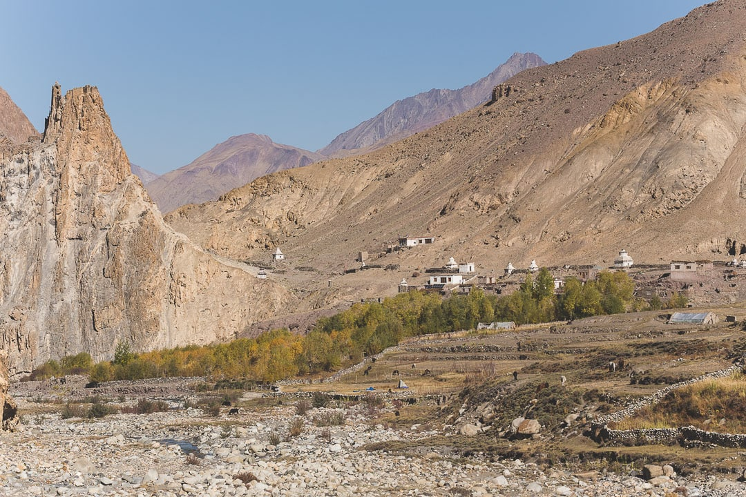 View of Hankar Village in Ladakh, India along the Markha Valley trek