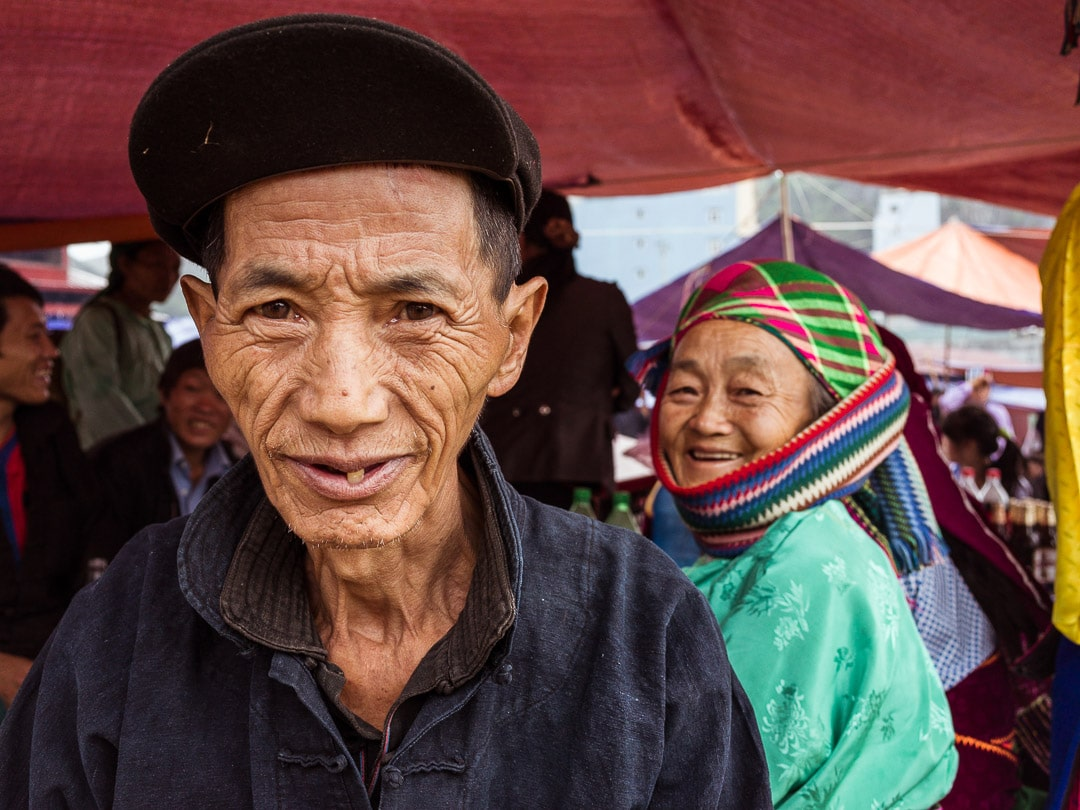 Friendly Hmong couple at the Dong Van Market on Sunday in Ha Giang, Vietnam