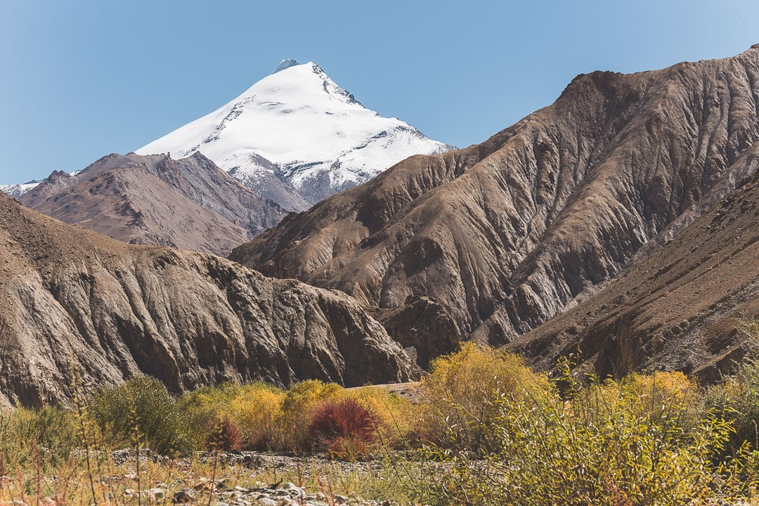 View of Kang Yatze mountain on the way to Hankar village in Ladakh