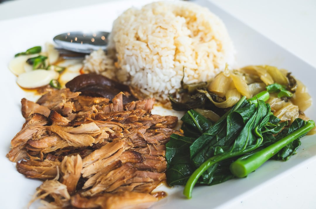A plate of Khao Kha Moo or braised pork leg in Bangkok, Thailand