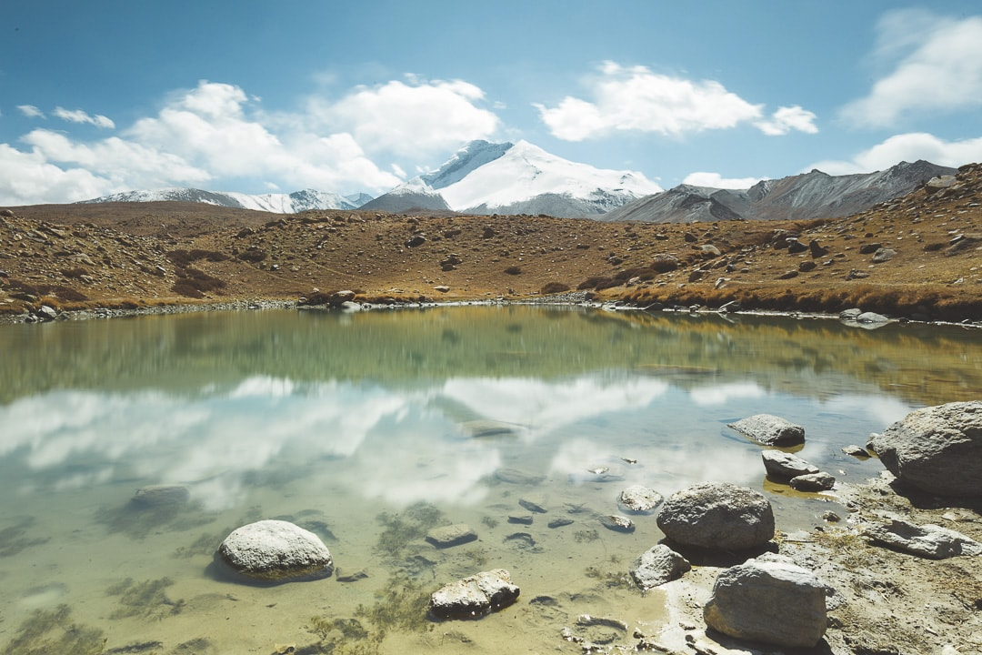 View of snowy Kang Yatze mountain and Lake Tsigu in Ladakh, India