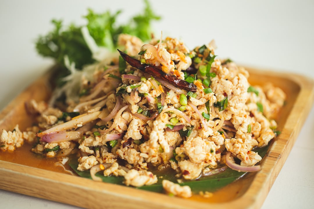 Larb Gai - Spicy minced chicken salad in Bangkok, Thailand