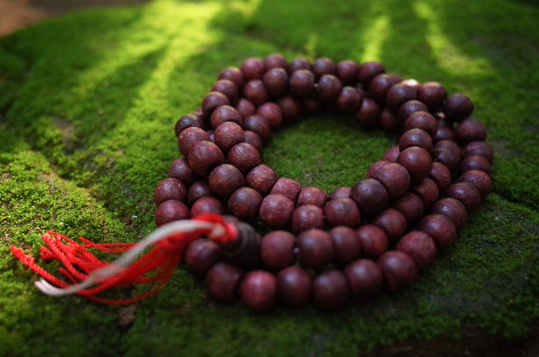 A beaded mala necklace sits on bright green moss in Thailand