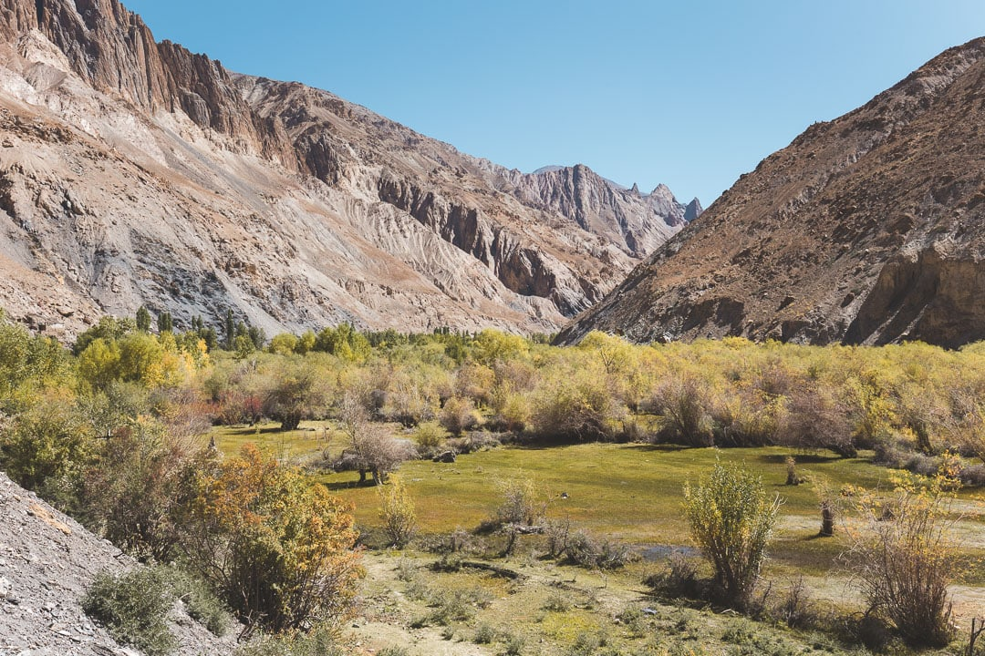 View of Markha Valley near Skyu in Ladakh, India