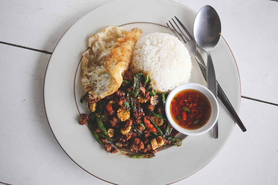 A plate of Pad Krapow Moo or Holy Basil Pork in Bangkok, Thailand