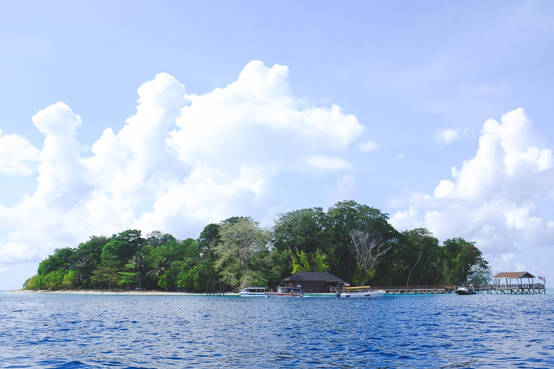View of Sipadan Island in Borneo from a boat