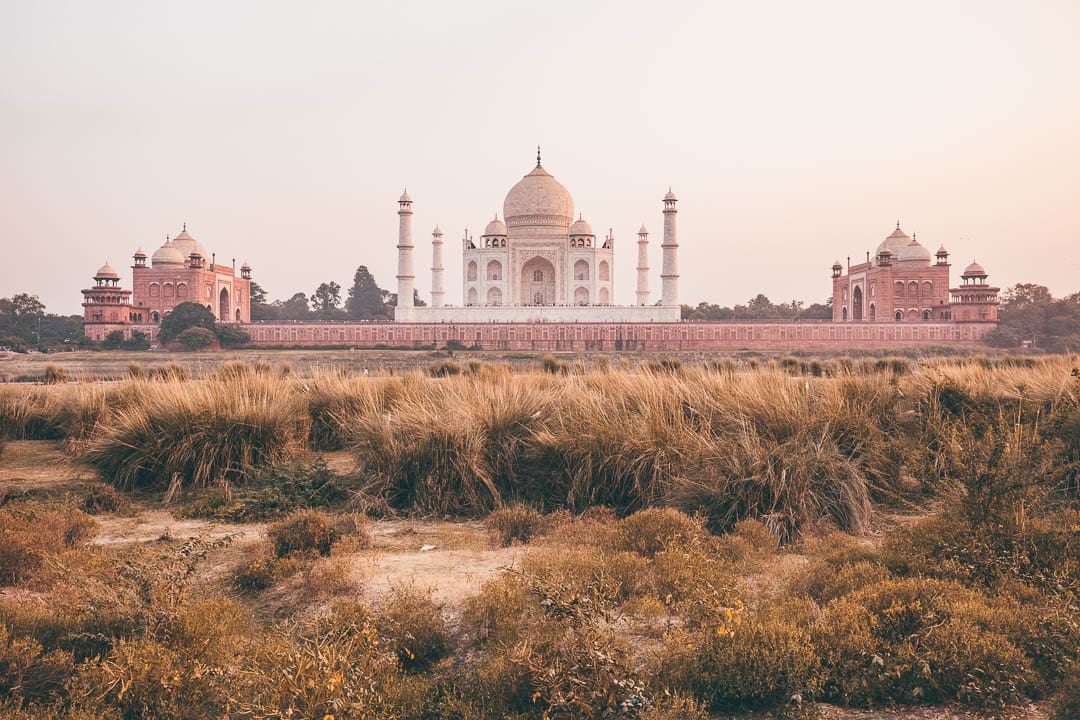 Sunset view of the Taj Mahal from Mehtab Bagh in Agra, India