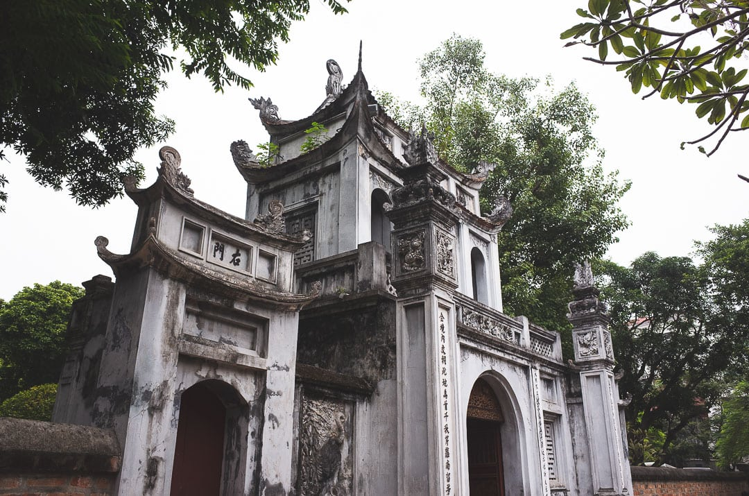Entrance to the temple of literature in Hanoi, Vietnam