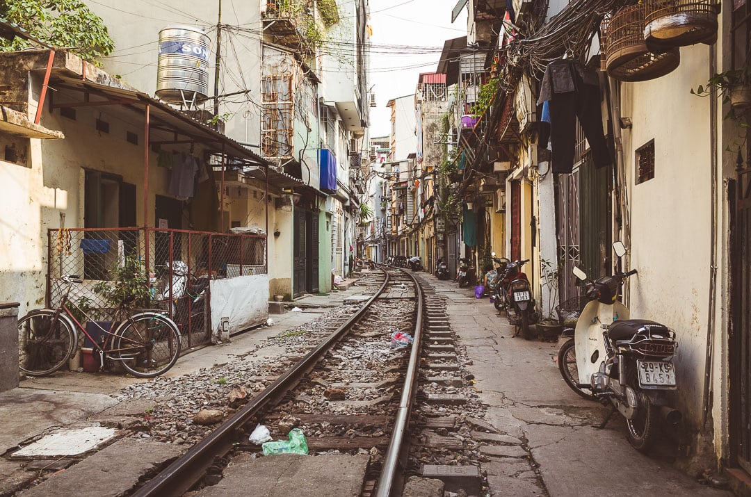 View of the famous train alley in Hanoi, Vietnam