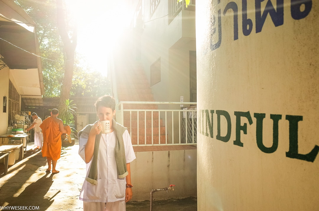 Sindhya having her morning tea after a meditation session at Wat Umong temple