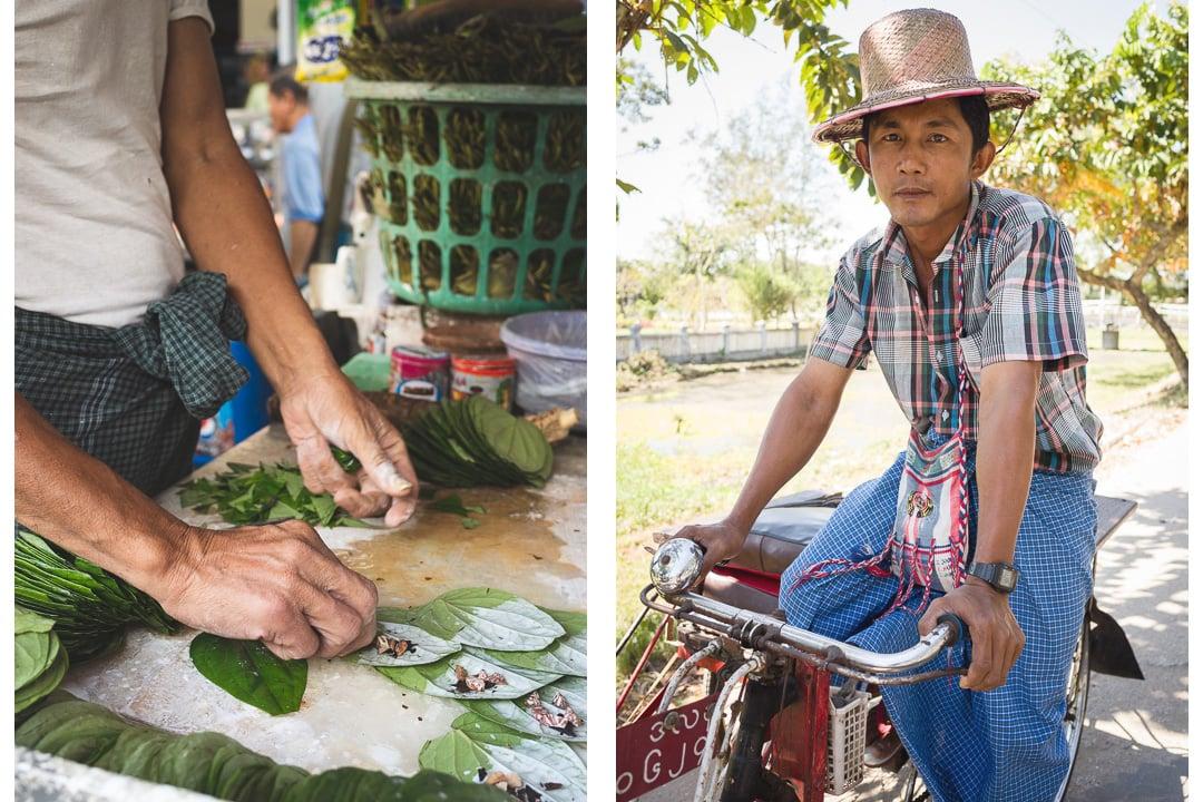A man rolls kun yar and sits on his bike in Yangon, Myanmar photo essay