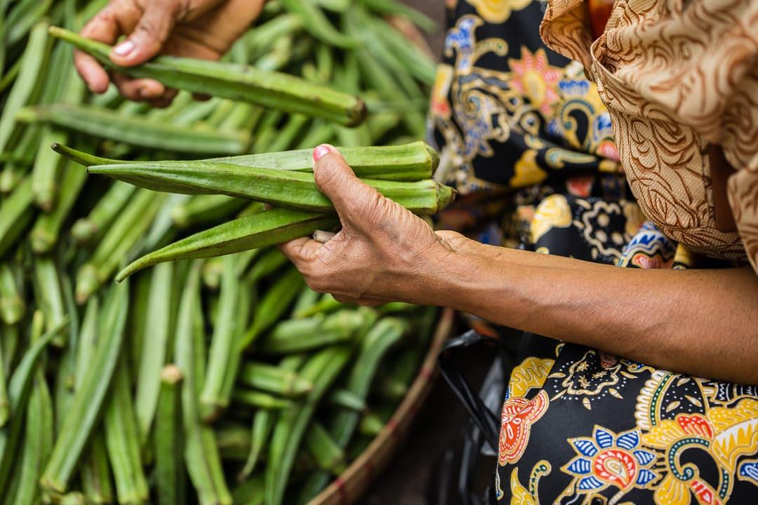 Fresh okra at the market in Yangon