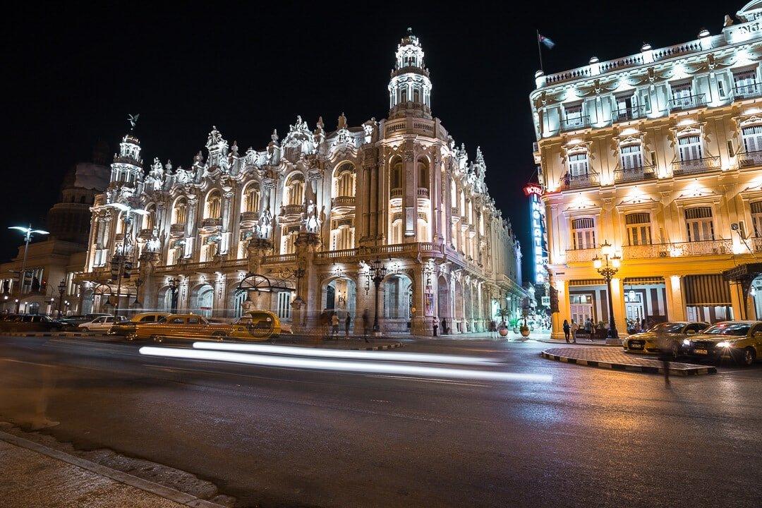 Night scene in downtown Havana, Cuba.