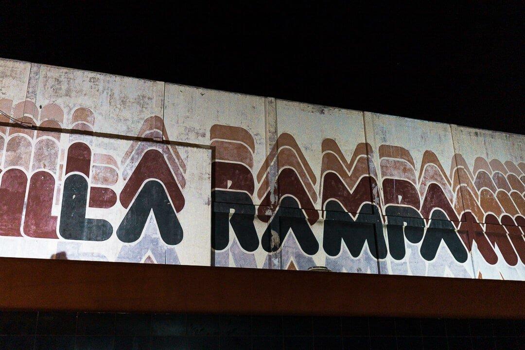View of La Rampa sign at night. Live music in Havana, Cuba