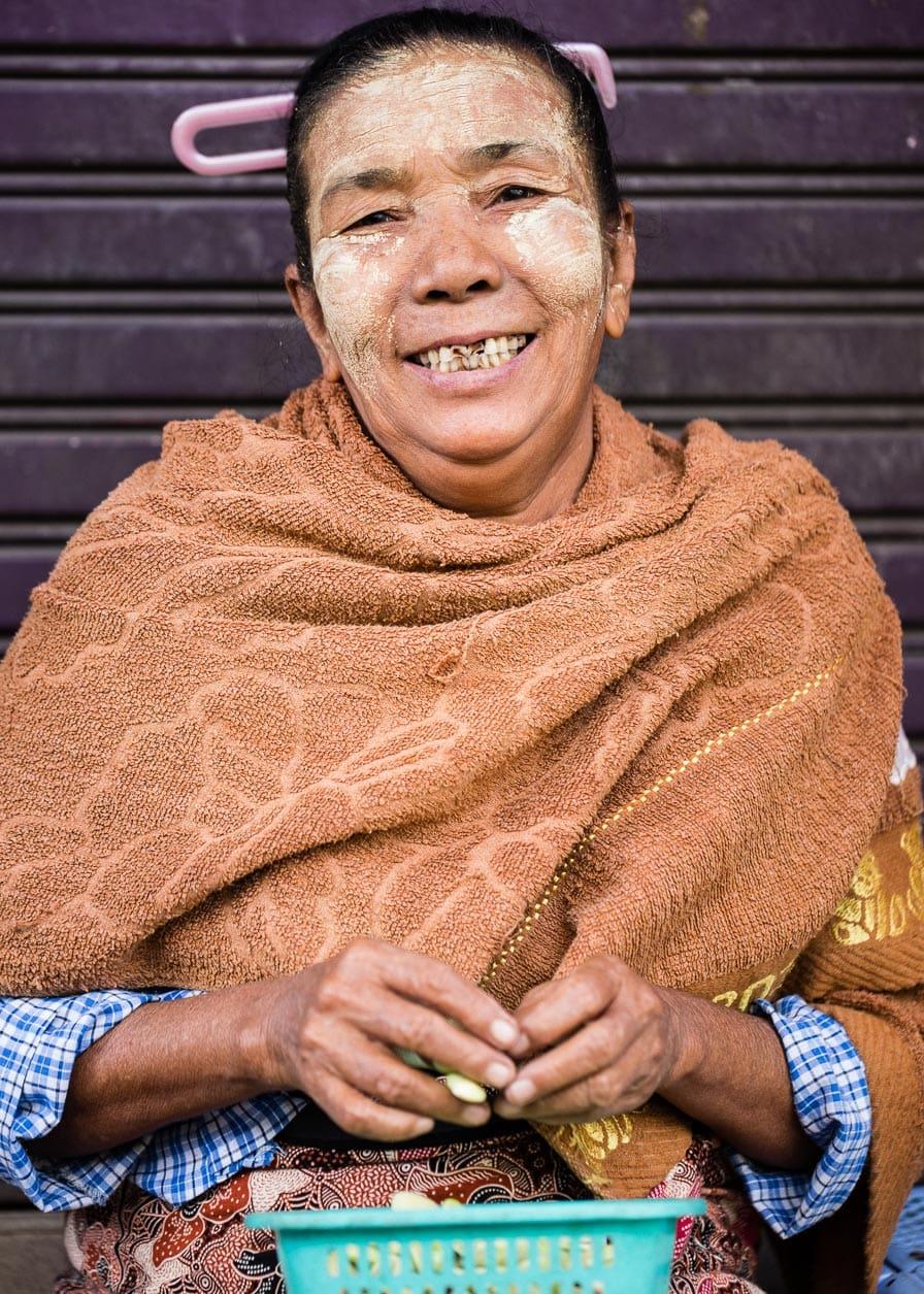 Portrait of a friendly vendor in Yangon