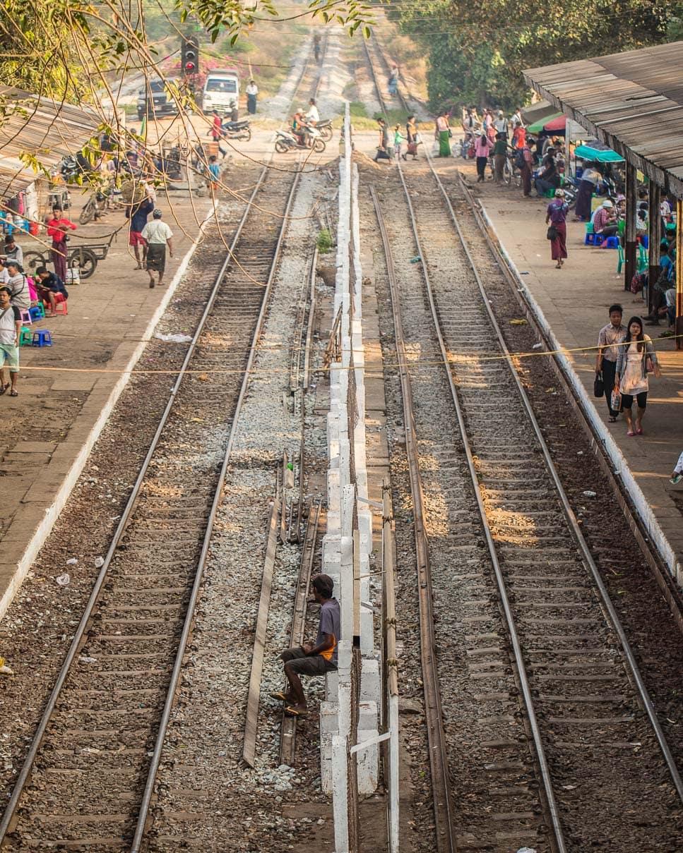 Train tracks in Yangon, Myanmar photo essay