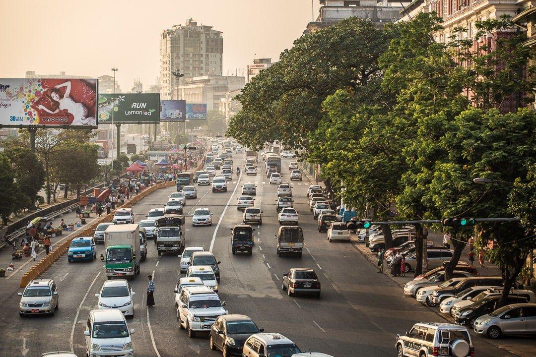 Traffic in Yangon, Myanmar photo essay
