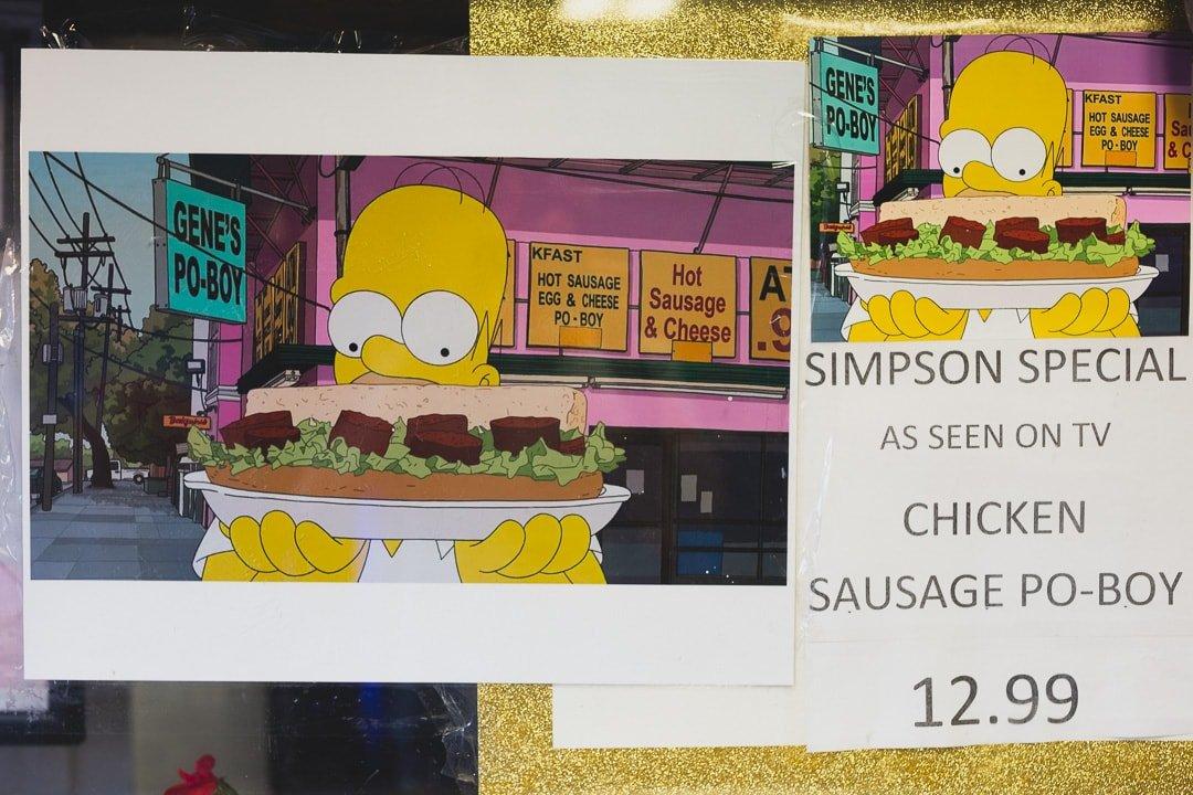Simpsons sign at Gene's Po-boy