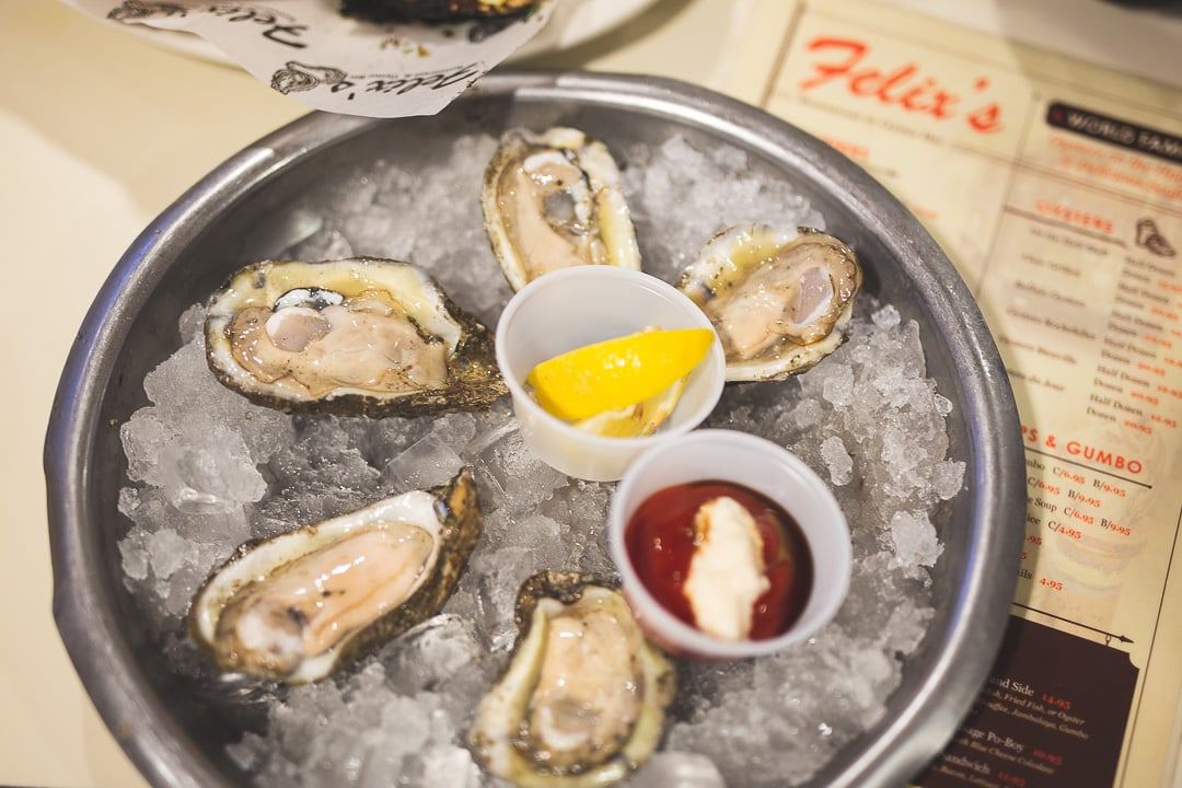Felix's Restaurant oysters on a half shell in New Orleans