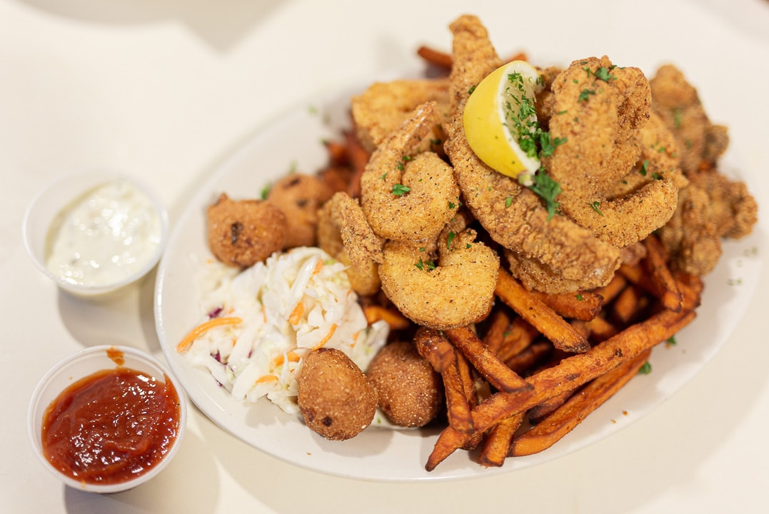Deanie's fried seafood platter in the French Quarter NOLA