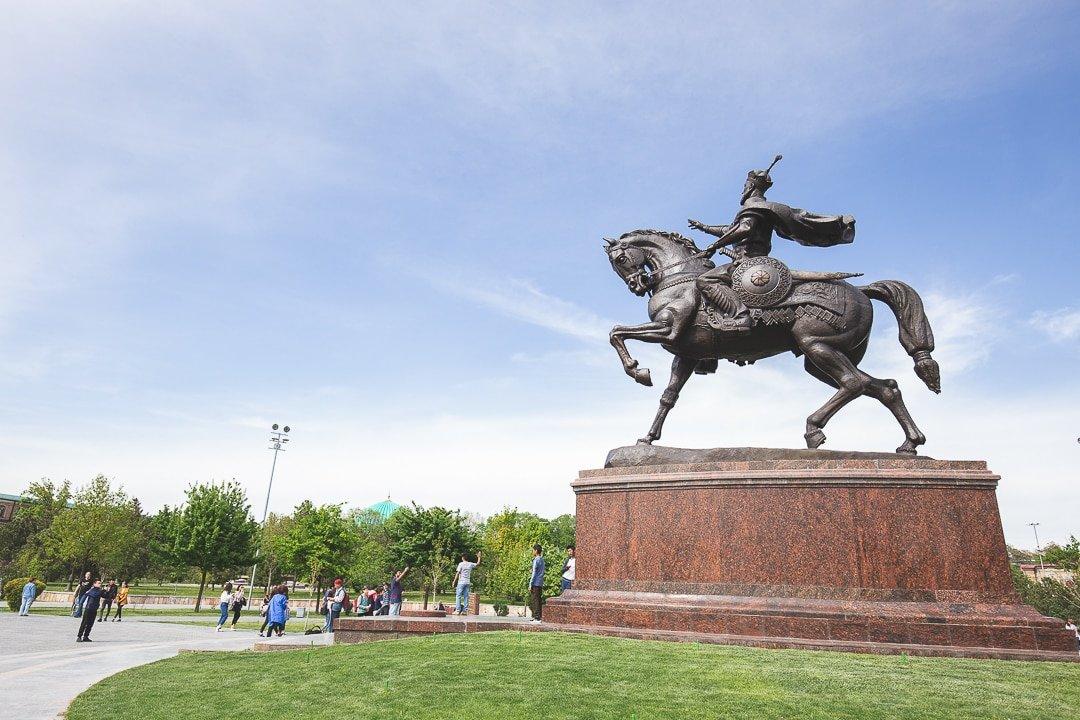 The statue of Amir Timur in Tashkent, Uzbekistan