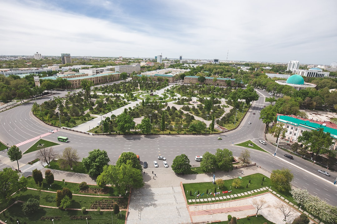View overlooking Amir Timur Square from Hotel Uzbekistan in Tashkent
