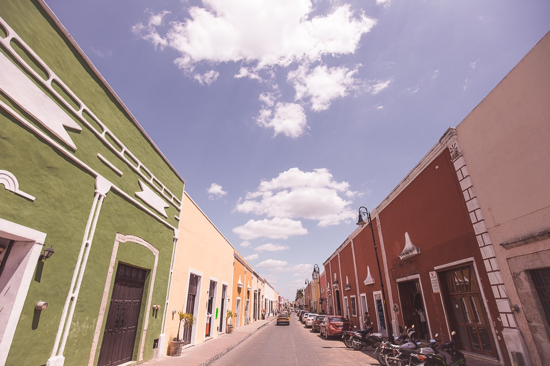 Colorful buildings line the streets of Valladolid