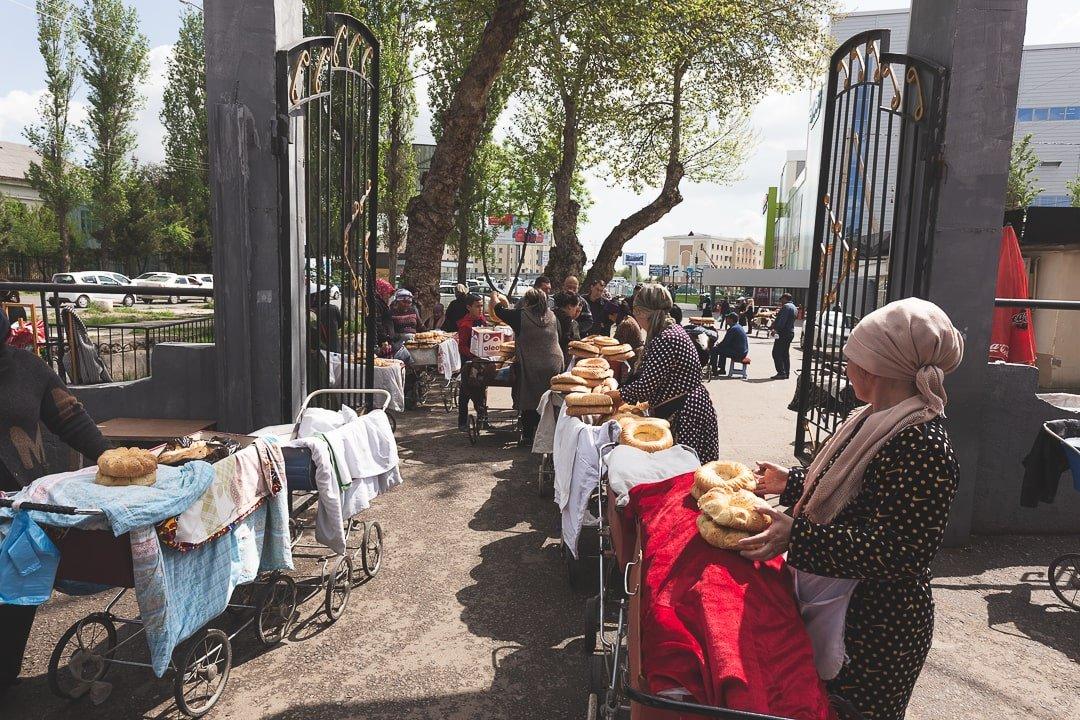 Local Uzbek women selling bread at the Chigatay Bazaar in Tashkent
