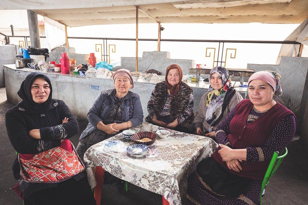 Local Uzbek women inside the Chigatay Bazaar in Tashkent