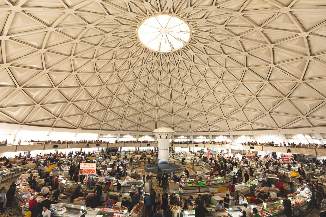 A view of the inside of the Chorsu Bazaar in Tashkent, Uzbekistan