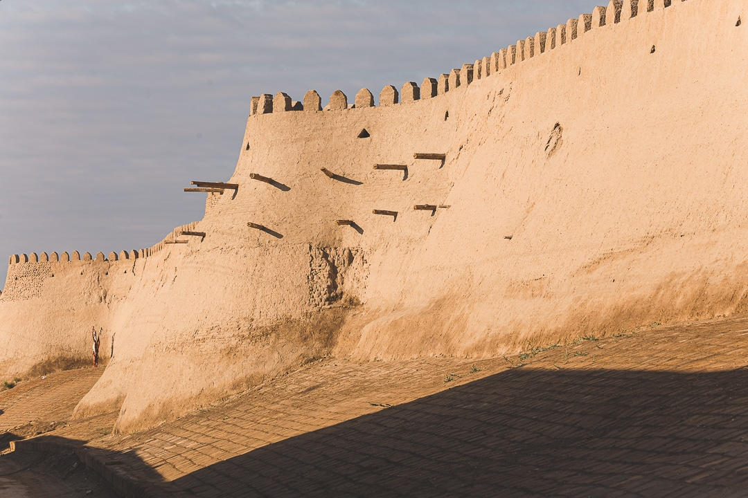 View of the Itchan Kala wall from the watchtower in Khiva