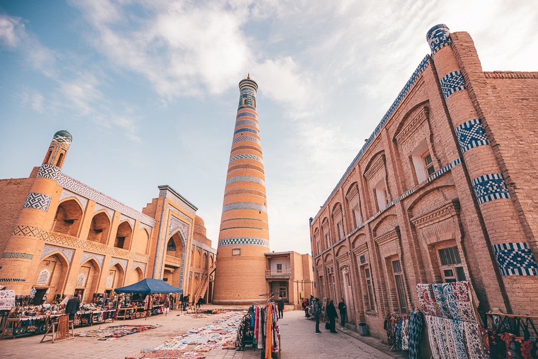 Islam Khodja minaret and market scene in Khiva