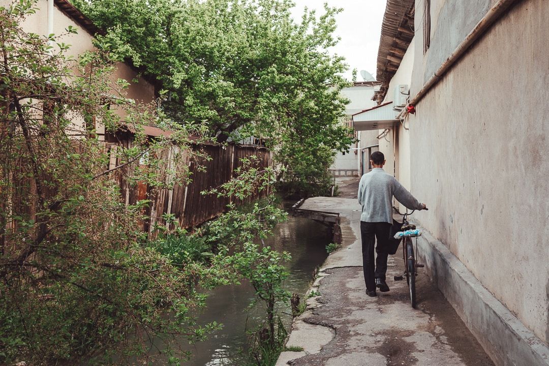 A man pushes his bicycle in the old mahallas of Tashkent, Uzbekistan