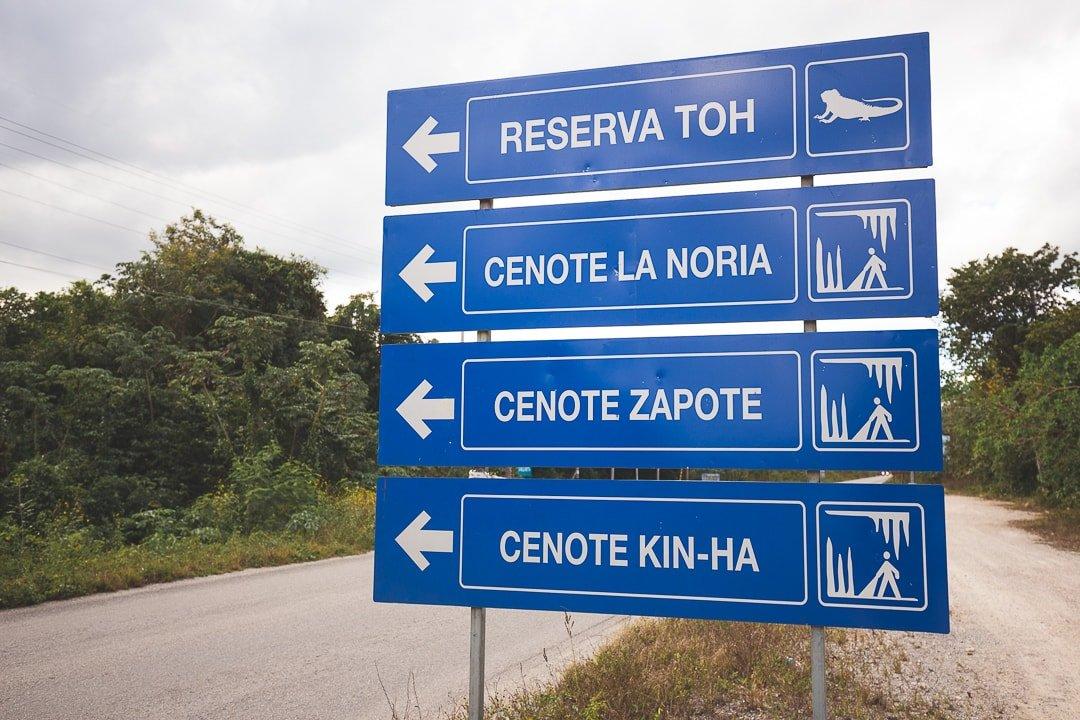 Ruta de los Cenotes sign of La Noria, Zapote, and Kin Ha cenotes