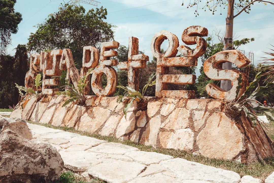 Ruta de los cenotes sign near Cancun
