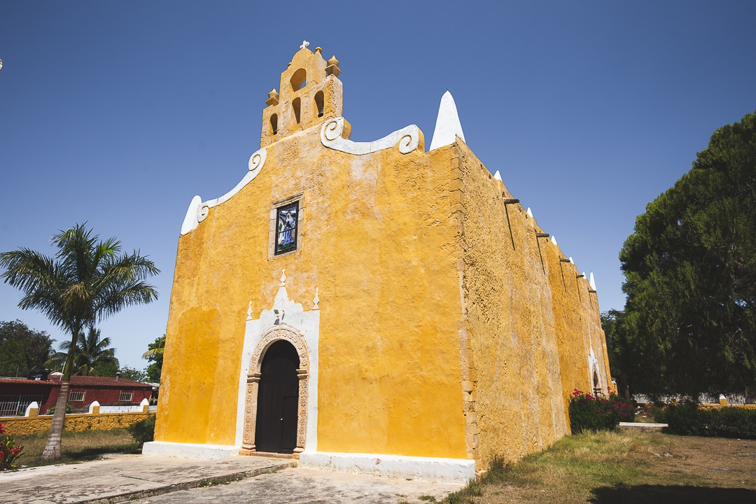 The yellow Church of Santa Ana in Valladolid, Mexico