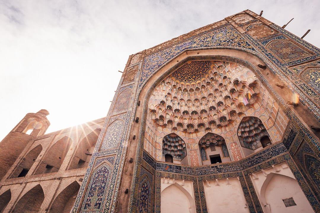 View of the Abdulaziz-Khan madrassa in Bukhara, Uzbekistan