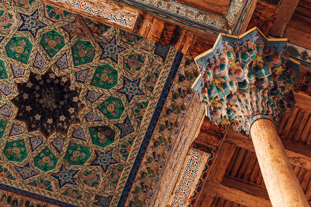Colorful, geometric ceiling of the Bolo Hauz Mosque in Bukhara