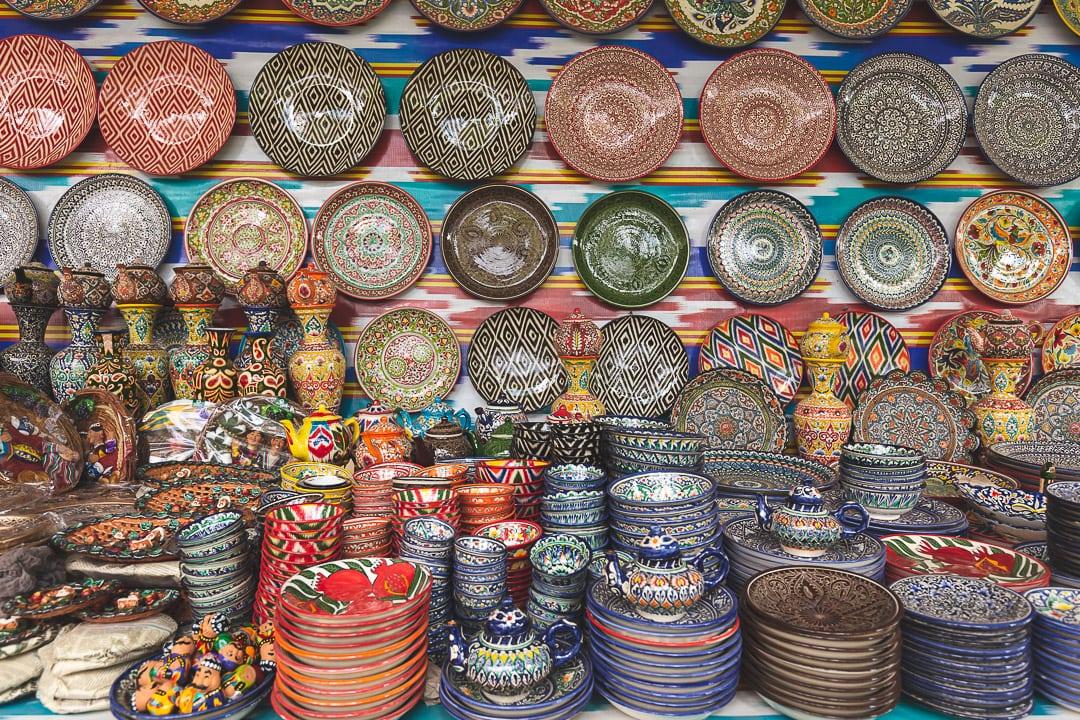 Ceramic plates and teapots at Chorsu Bazaar in Tashkent