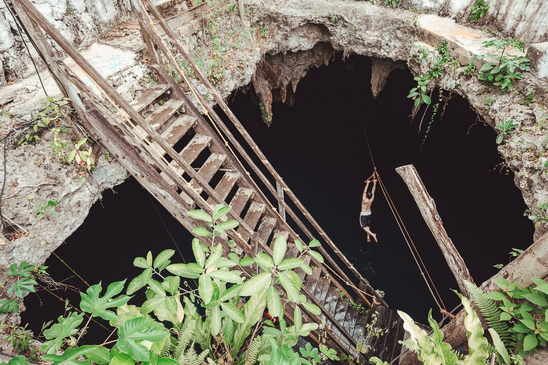 View of zipliner at Cenote La Noria from above