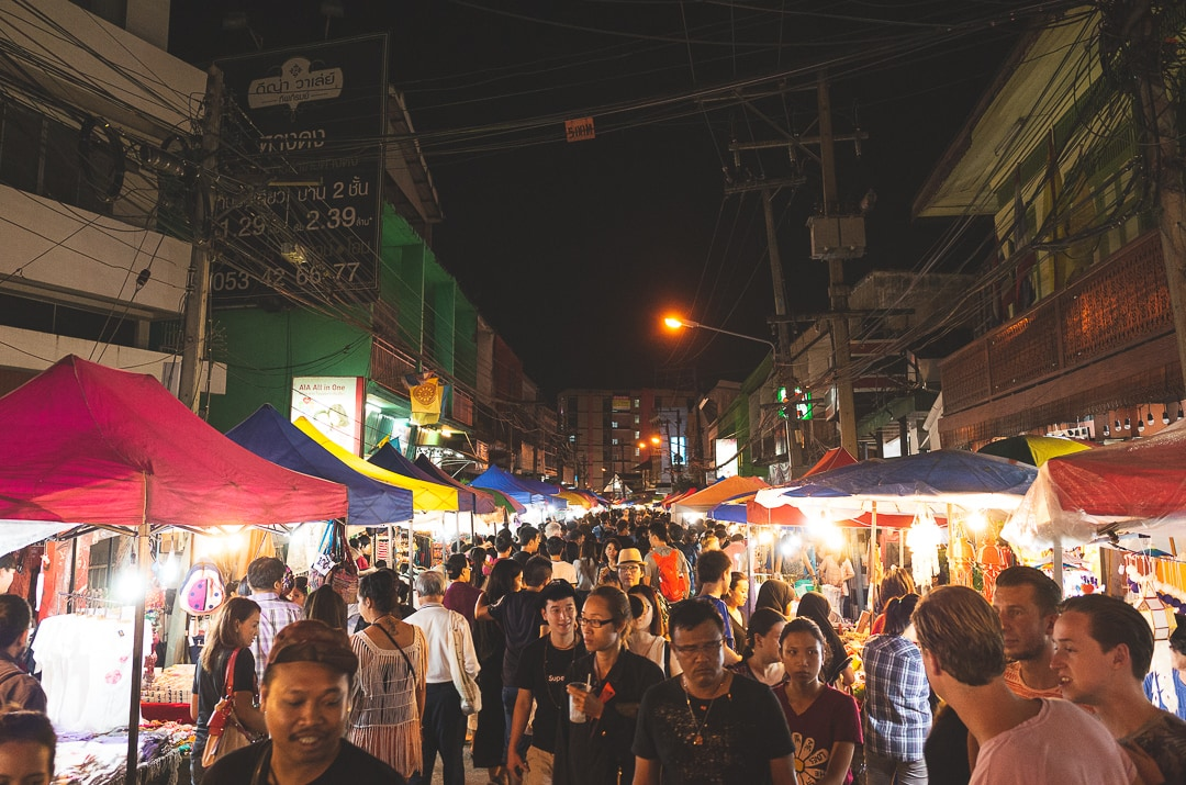 People walking through Krabi night market