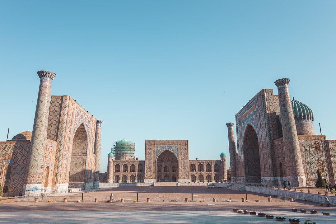 View of Registan Square in Samarkand, Uzbekistan