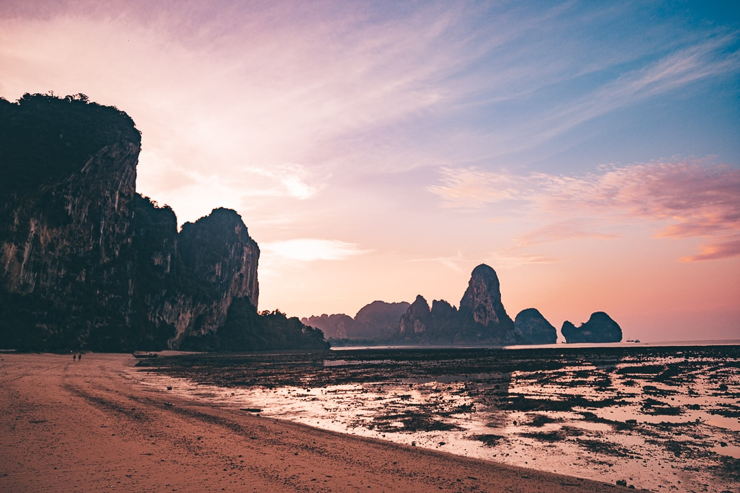 Tonsai Beach at sunrise with Railay Beach in the background